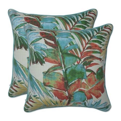"""16.5"""" x 16.5"""" Outdoor/Indoor Throw Pillow Sengala Teal Blue - Pillow Perfect - image 1 of 1"""