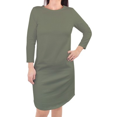Touched by Nature Womens Organic Cotton Long-Sleeve Dress, Olive Green