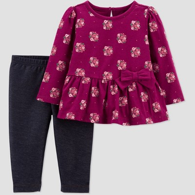 Baby Girls' Floral Top & Bottom Set - Just One You® made by carter's Maroon 6M