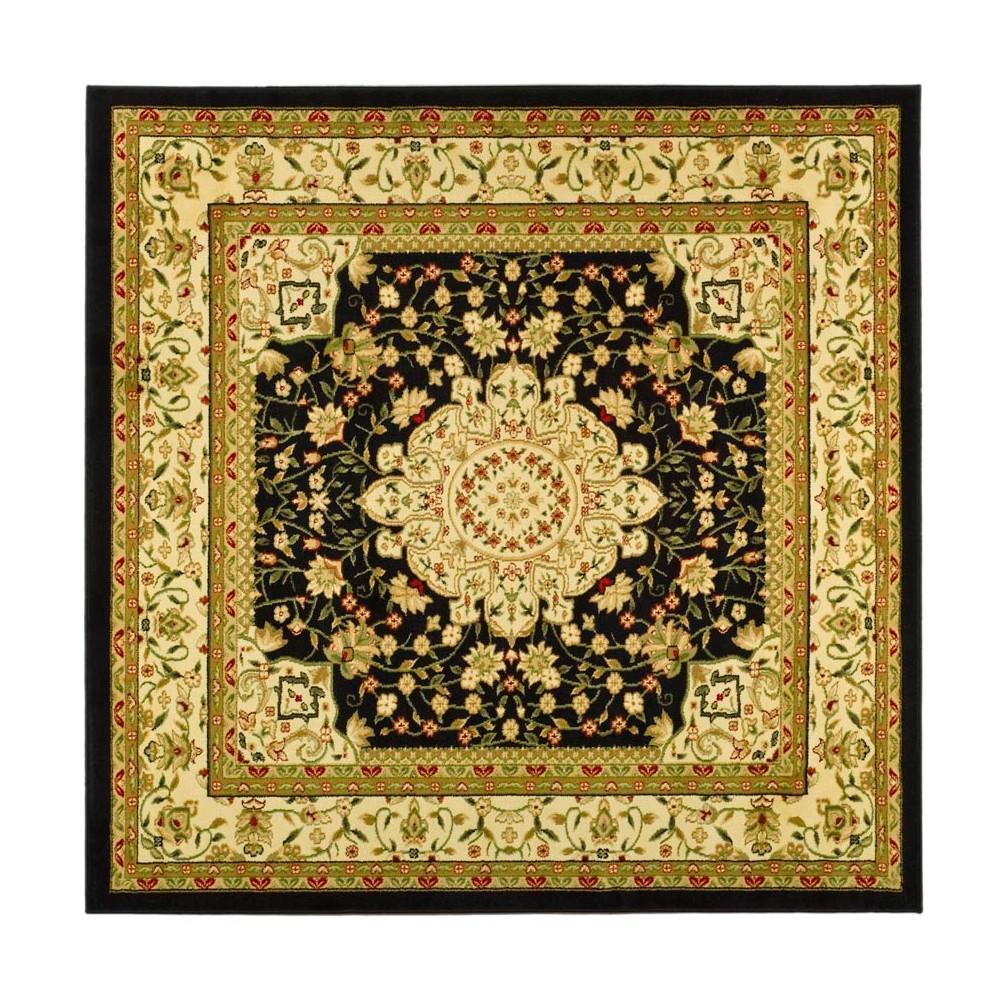 6'X6' Loomed Floral Square Area Rug Black/Ivory - Safavieh