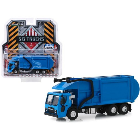 """2019 Mack LR Refuse and Recycle Garbage Truck Blue """"S.D. Trucks"""" Series 7 1/64 Diecast Model by Greenlight - image 1 of 1"""