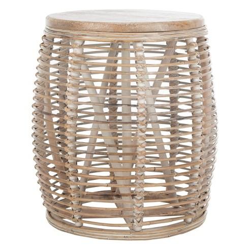 Maui Rattan Drum Stool Table - Safavieh - image 1 of 5