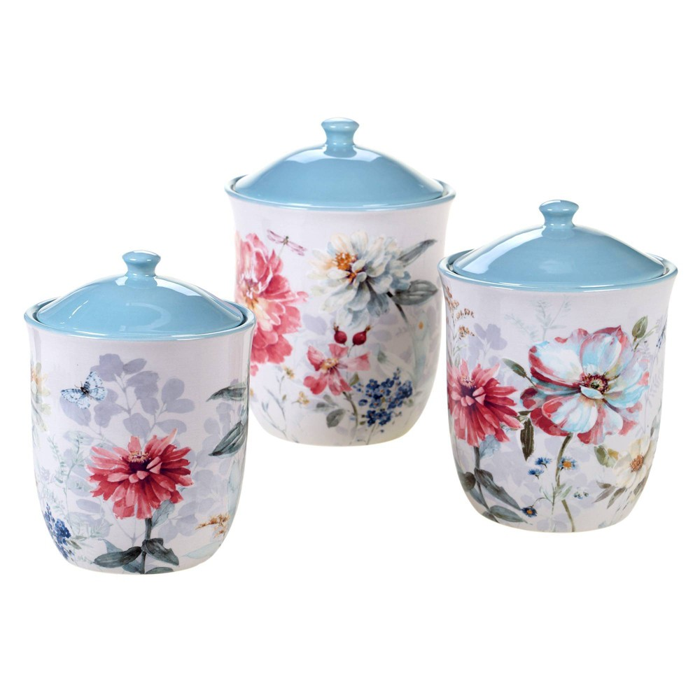 3pc Earthenware Spring Bouquet Canister Set Certified International