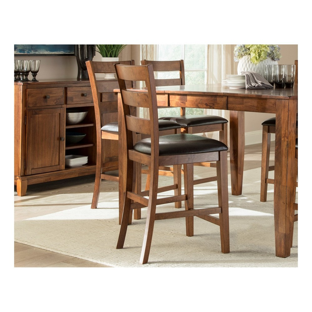 Kona Ladder Back Barstool With Faux Leather seat Caramel (Set of 2) - Intercon, Brown
