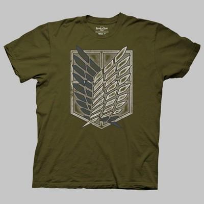 Men's Attack On Titan Logo Short Sleeve Graphic T-Shirt - Olive Green