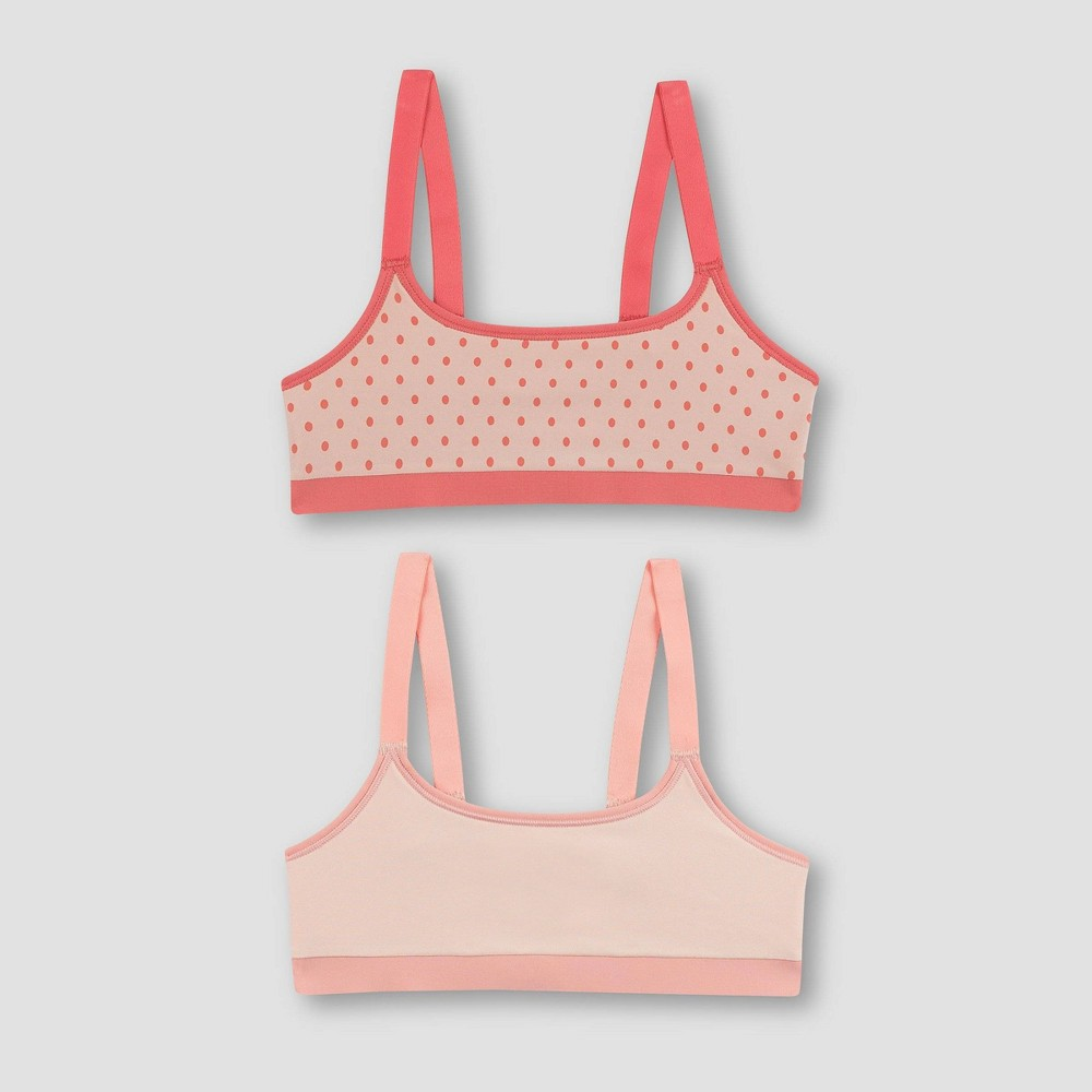 Hanes Girls' 2pk Reversible Bra - Pink XL