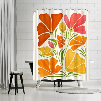 "Americanflat Spring Wildflowers by Modern Tropical 71"" x 74"" Shower Curtain"