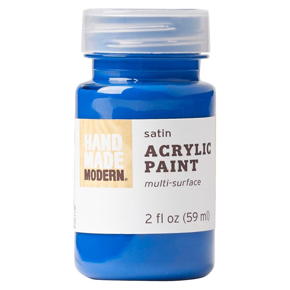 Image of 2oz Satin Acrylic Paint - Cobalt Hand Made Modern , Blue