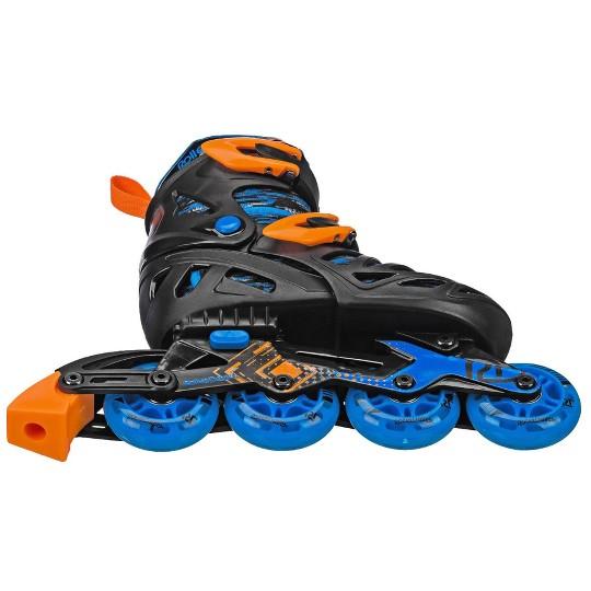 Roller Derby Tracer Boy's Adjustable Inline Skate - Black/Blue - Medium (2-5), Boy's, Blue Black image number null