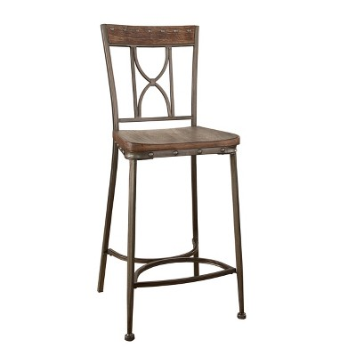 Set of 2 Paddock Non-Swivel Barstools - Brushed Steel Metal - Hillsdale Furniture