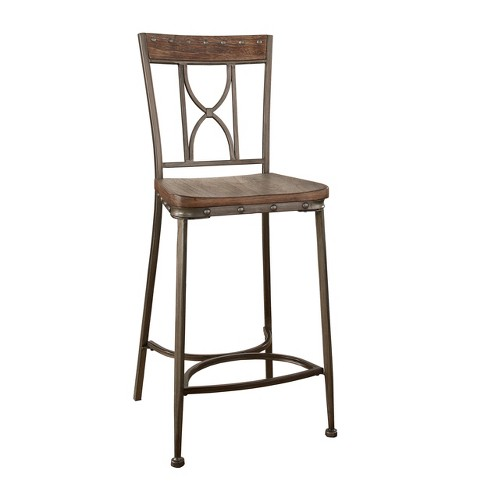 Incredible Paddock Non Swivel Counter Height Stool Set Of 2 Brushed Steel Metal Hillsdale Furniture Pabps2019 Chair Design Images Pabps2019Com