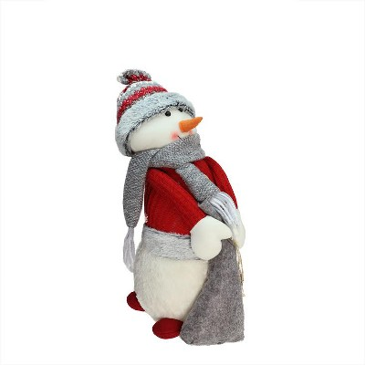 """Northlight 15.75"""" Red and Gray Snowman Christmas Tabletop Decoration"""
