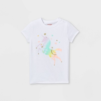 Girls' Rainbow Unicorn Graphic Short Sleeve T-Shirt - Cat & Jack™ White