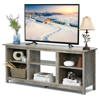 Costway 58'' 2-Tier TV Stand Entertainment Media Center Console Up to 65'' Grey