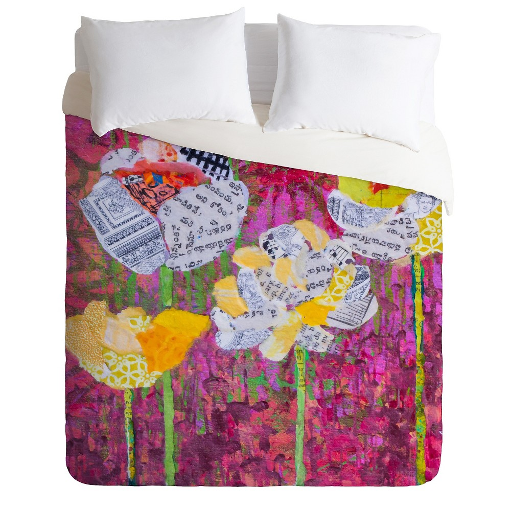 Elizabeth St Hilaire Nelson Mums Lightweight Duvet Cover Queen Purple - Deny Designs, Multicolored