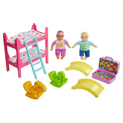 Honestly Cute My Lil' Baby Bunk Bed Playroom with Blonde Boy Doll and Brunette Girl Doll