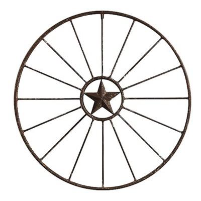 "Metal Wagon Wheel Wall Décor (32.5""x32.5"")- 3R Studios"