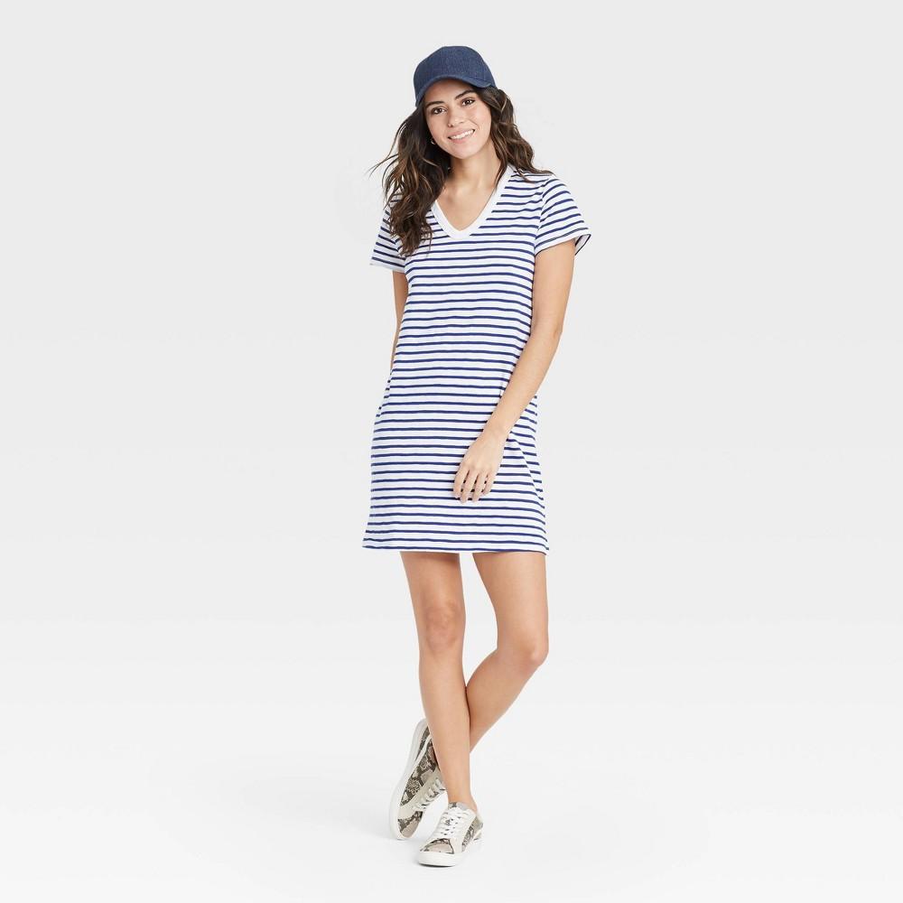 Women 39 S Striped Short Sleeve T Shirt Dress Universal Thread 8482 Navy L