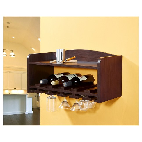 Caprice Modern Wall Mounting Wine Rack Walnut Homes Inside Out