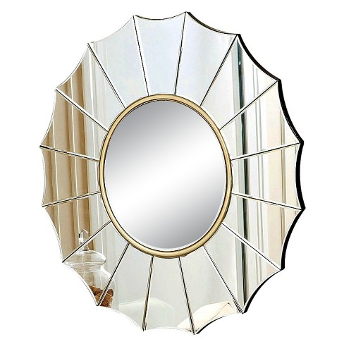 Round Lonnie Decorative Wall Mirror Gold - Abbyson Living - image 1 of 3