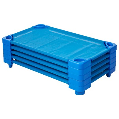 ECR4Kids Toddler Naptime Cot, Stackable Daycare Sleeping Cot for Kids, Assembled, Blue, Set of 5