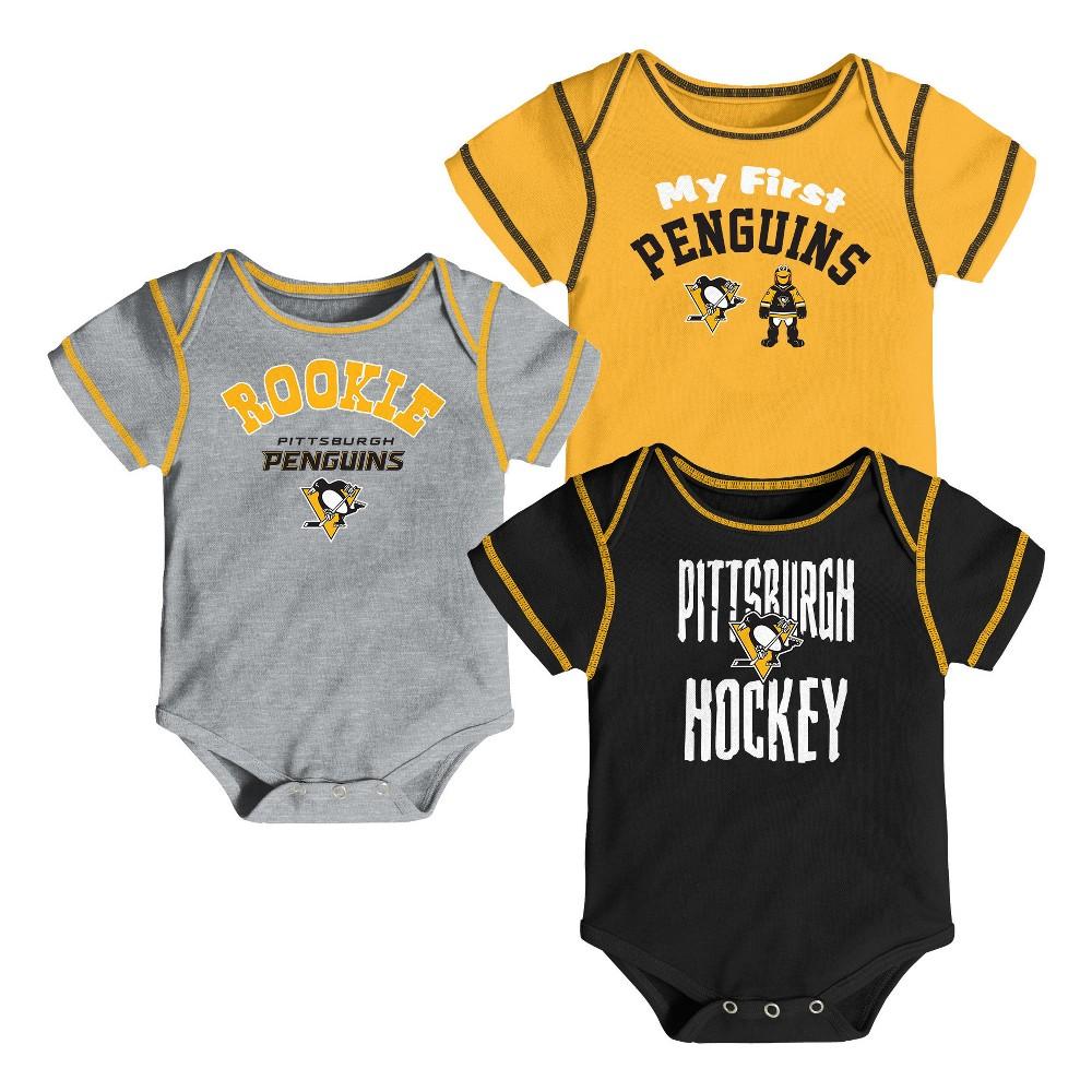 Pittsburgh Penguins Boys' Game Winner 3pk Body Suit Set 12 M, Size: 12M, Multicolored
