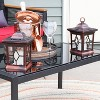 "Sunnydaze Outdoor Lucien Hanging Tabletop Solar LED Rustic Farmhouse Decorative Candle Lantern - 9"" - Copper - 4pk - image 3 of 4"