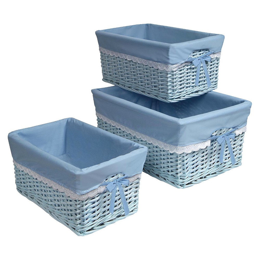 Badger Decorative Basket with Blue Liners Set of 3