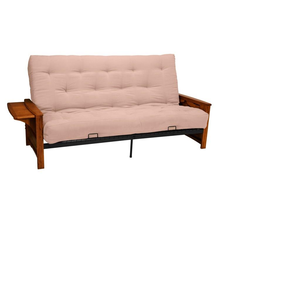 8 Brooklyn Inner Spring Futon Sofa Sleeper Walnut Wood Finish Sand (Brown) - Epic Furnishings