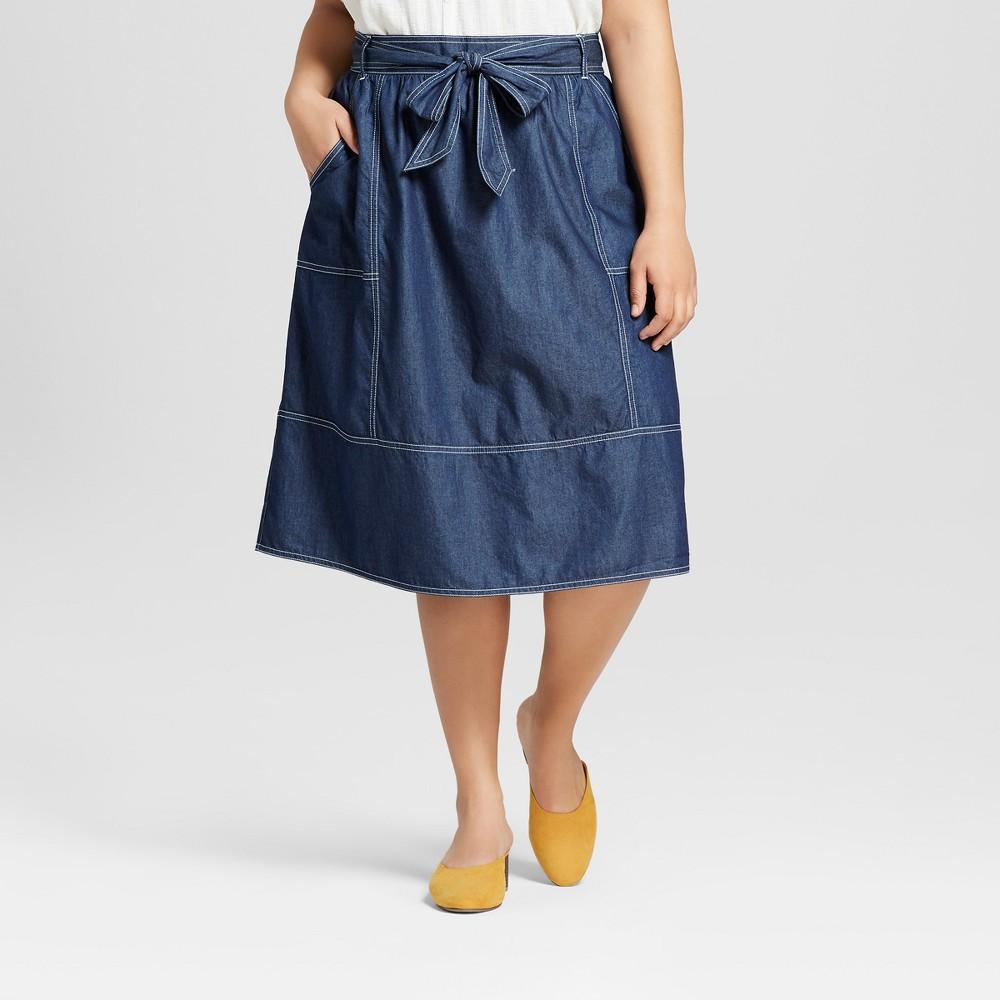 Women's Plus Size Chambray Skirt - Universal Thread Blue X
