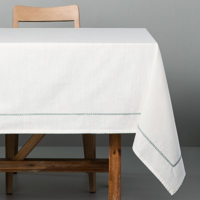 Embroidered Mini Border Tablecloth Green - Hearth & Hand™ with Magnolia