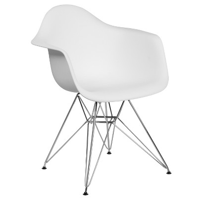Flash Furniture Alonza Series Plastic Chair with Arms and Chrome Base