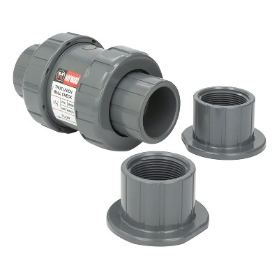 Hayward TC10150STE TC Series 1.5 Inch True Union Check Valve PVC Backflow Preventer with EDPM Seals and Threaded End or Swimming Pools