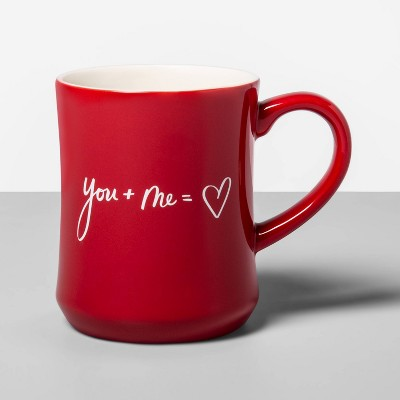 15oz Stoneware You + Me = Heart Mug Red - Opalhouse™