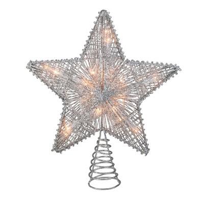 """Kurt S. Adler 10"""" Lighted Silver Glittered Star Christmas Tree Topper - Clear Lights"""