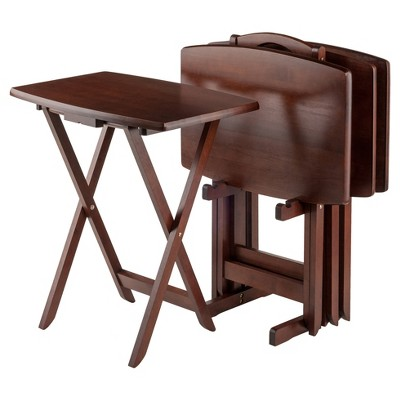 Darryl 5 Piece Oversize Snack Table Set - Antique Walnut - Winsome