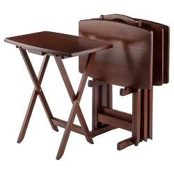 Darryl 5 Piece Oversize Snack Table Set - Antique Walnut - Winsome