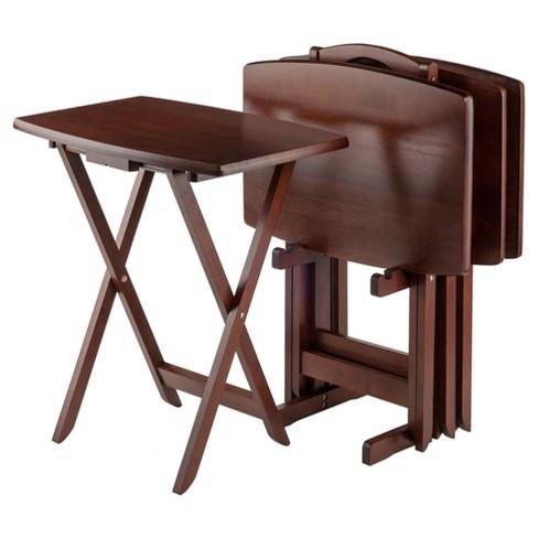 Darryl 5 Piece Oversize Snack Table Set - Antique Walnut - Winsome - image 1 of 4