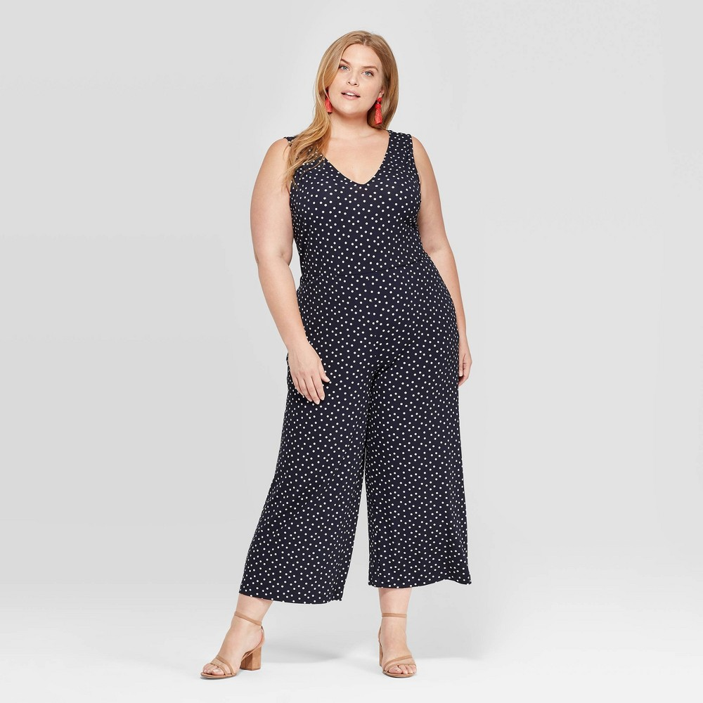 3aea3239648104 Womens Plus Size Polka Dot Sleeveless V Neck Knit Jumpsuit Ava Viv Navy  Blue 4X