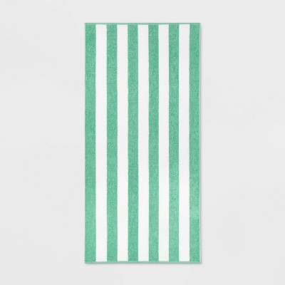 Cabana Striped Beach Towel Green - Sun Squad™