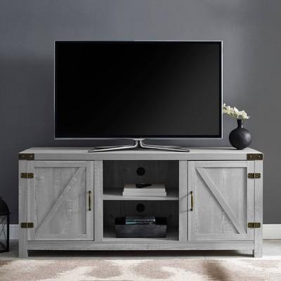 "2 Door Modern Farmhouse Barn Door TV Stand for TVs up to 65"" Stone Gray - Saracina Home"