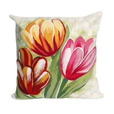 "Red Warm Tulips Throw Pillow (20""x20"") - Liora Manne"
