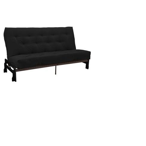 Low Arm 8 Cotton Foam Futon Sofa Sleeper Black Wood Finish Sit N Sleep