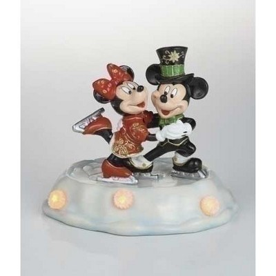 """Roman Pre-Lit Black and Red Cloisonne Mickey with Minnie Skating Christmas Figurine 7"""""""