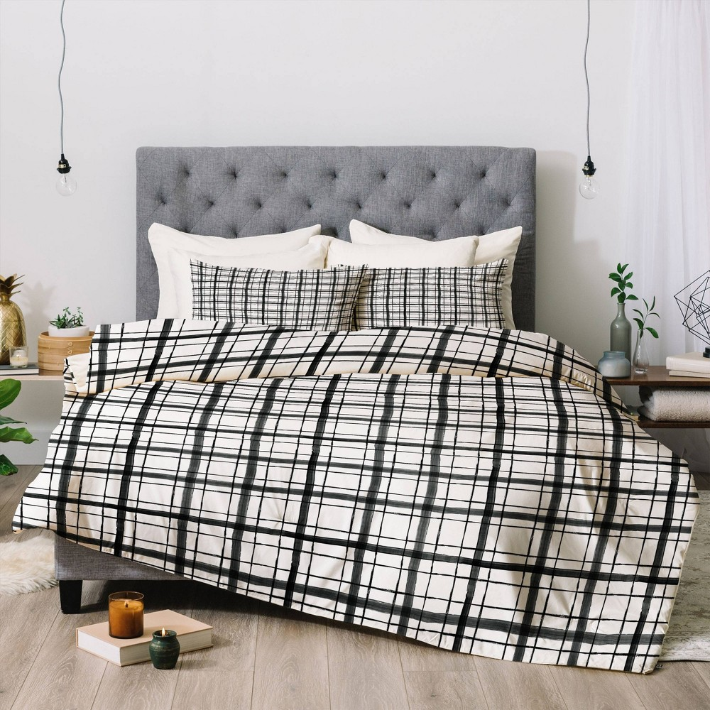Full Queen Dash And Ash Painted Plaid Comforter Set Black Deny Designs