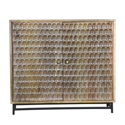 """32"""" Rustic Style Wooden Storage Cabinet with 2 Doors and Engraved Honeycomb Front Brown - The Urban Port"""