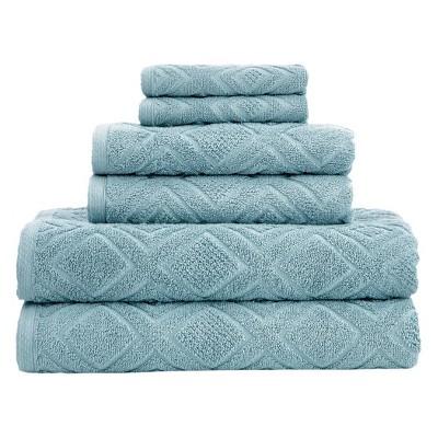 6pc LaRue Turkish Cotton Bath Towel Sets Sea Grass - Makroteks
