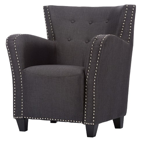 Acton Linen Contemporary French Accent Chair Dark Gray - Baxton Studio - image 1 of 6