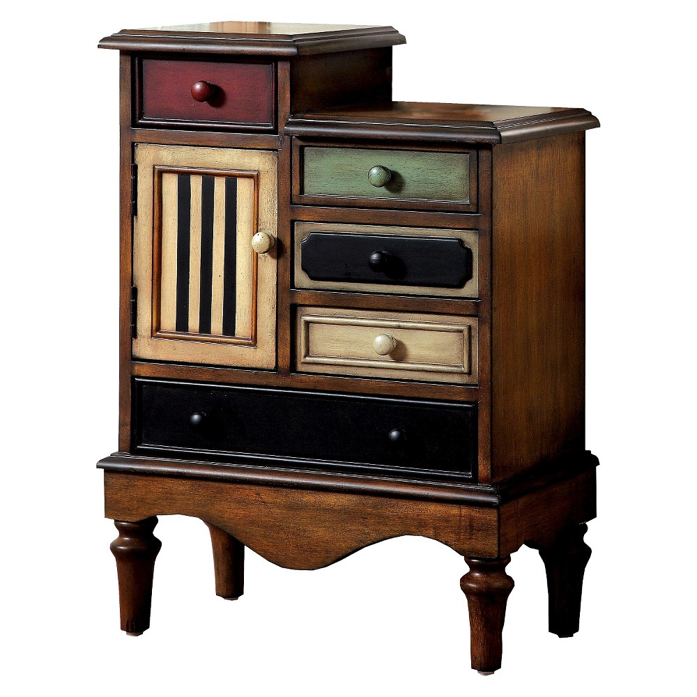 Sun & Pine Felicia Vintage 5 Drawer Accent Chest Multi Colored, Dark Brown