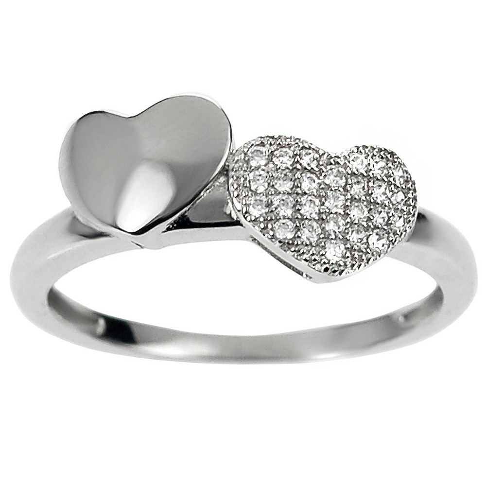 1/4 CT. T.W. Round-cut CZ Double Heart Accent Pave Set Ring in Sterling Silver - Silver, 7, Girl's